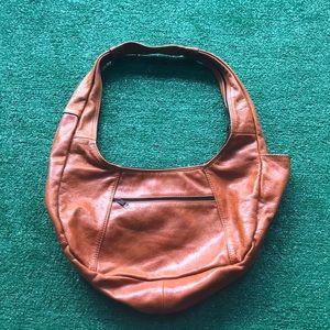 Vintage orange leather Mexican purse shoulder bag